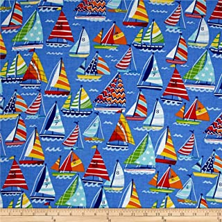 Santee Print Works Clear Sailing Sailboats Allover Blue Multi Fabric by the Yard