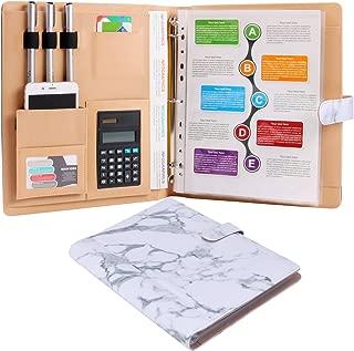 Plinrise High Grade Multifunction Letter Size Padfolio/Resume Portfolio Folder-Document Organizer/Business Card Holder with Calculator and 8 File Pockets (White Marble)