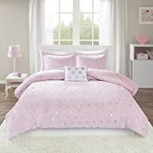 MI ZONE Rosalie Comforter Ultra-Soft Microlight Plush Metallic Printed Hearts Brushed Reverse Overfilled Down Alternative Hypoallergenic All Season Bedding-Set, Full/Queen, Pink/Silver