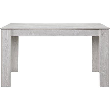 [en.casa] Table de Salle à Manger Bureau Nora Chêne Robuste Blanc 140 x 90cm