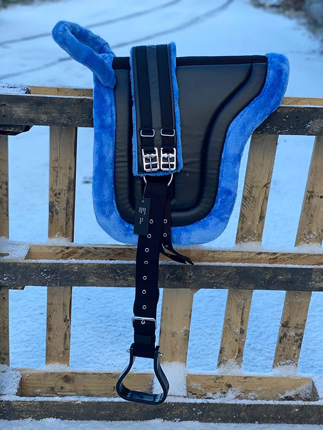 Countrypride BAREBACK PAD RIDING PAD FOR PONY AND MINI HORSES WITH GIRTH SIZE FULL-SHETLAND ICE BLUE