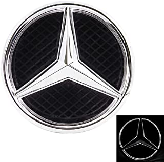 Patricon Xenon White LED Illuminated Logo Car Front Grilled Star Emblem for Mercedes Benz 2013-2018 A/B/C/CLS/E/GLK/GL/R Series Center Front Badge Lamp Light