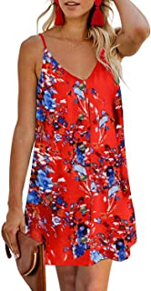 CILKOO Women's Floral Print Button Down Strappy Sleeveless Casual Flowy Mini Dress - Orange - X-Large