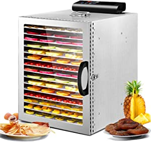 Moongiantgo Commercial Food Dehydrator 1000W Stainless Steel Beef Jerky Machine 16 Trays Electric Fruits Dryer with Light Digital Timer and Temperature Control for Herb Jerky Vegetables Flowers Meat (Upgraded)