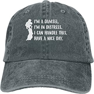 Genwo182nimas Mens Womans Unisex Casual I'm A Damsel I'm in Distress Funny Quotes Princess Adult Cowboy Chapeau Deep Heather