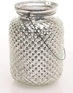 Floral Home Envie Mercury Glass Hanging Hobnail Jar in Silver - 6.5