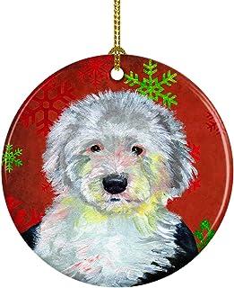 Caroline's Treasures LH9351-CO1 Old English Sheepdog Red Snowflake Holiday Christmas Ceramic Ornament, Multicolor