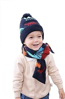 JinBei Gorros de Punto Bufanda para Niños, Sombrero Tejido Conjunto Niña Niño Sombrero y Bufanda Otoño Invierno Calentar B...