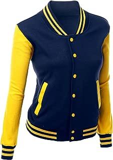 Women's Stylish Color Contrast Long Sleeves Varsity Jacket