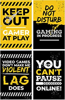 Video Game Posters, Set of 4, 11x17 Inches, Gaming Artwork, Gamer Wall Art, Boys Room Kids Print Yellow