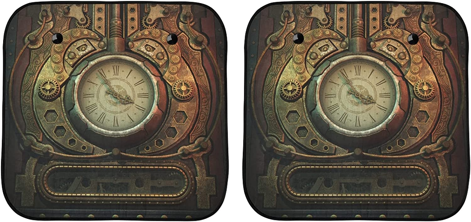 YPink Sun Max 51% OFF Shades for Car 3D Graphics Steampunk Charlotte Mall Clock Computer St