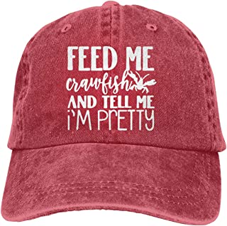 Feed Me Crawfish and Tell Me I'm Pretty Adult Personalize Jeans Sun Hat Adjustable Baseball Cap
