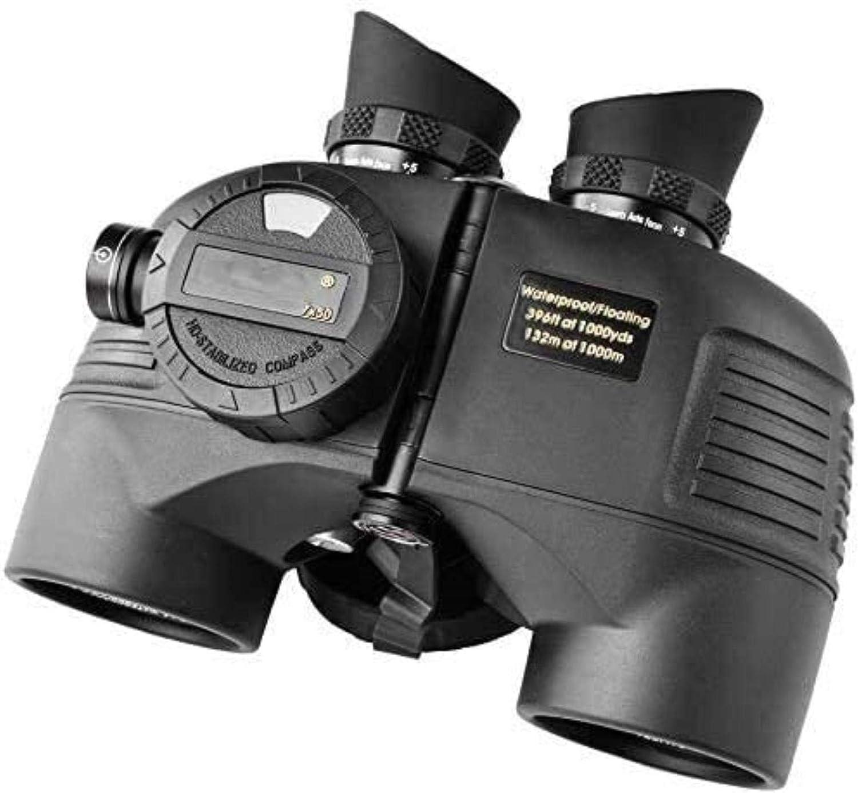 YUIOLIL Prismáticos Marinos 7X50 para Adultos, a Prueba de Agua con telémetro Brújula BAK4 Prism FMC Lente A Prueba de Niebla para navegación Navegación Pesca Deportes acuáticos