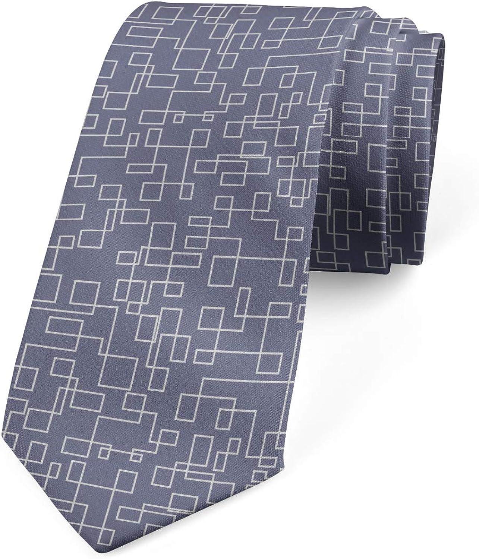 Ambesonne Men's Tie, Interweaved Stripes, Necktie, 3.7