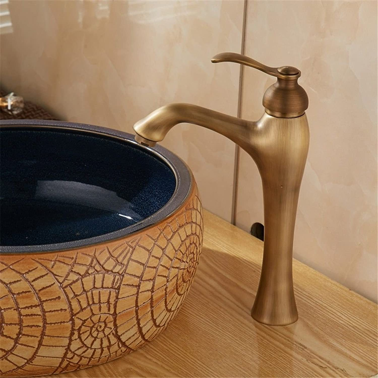 Ywqwdae Vintage Brass One-Handle Single Hole Hot and Cold Taps Kitchen Taps Basin Faucets Cold and Hot Water Mixer Bathroom Mixer Basin Mixer Tap for Kitchen Or Bathroom Taps