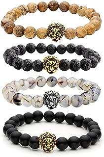 Jewelry Lava Rock Stone Matte Black Agate Mens Gemstone Beads Elastic Bracelet W/Gold Lion Head