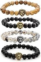 Top Plaza Jewelry Lava Rock Stone Matte Black Agate Mens Gemstone Beads Elastic Bracelet W/Gold Lion Head