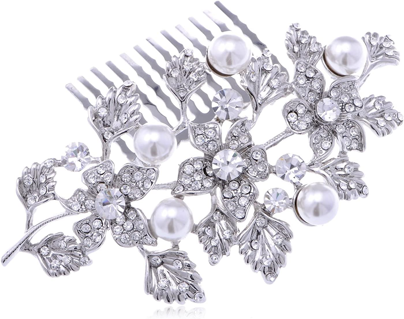 Alilang Silvery Tone Rhinestone Flowers Vines Leaves F High quality new Time sale Encrusted