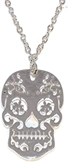 Necklace Sugar Skull Mexican Day Of The Dead Halloween Silver-Tone 18