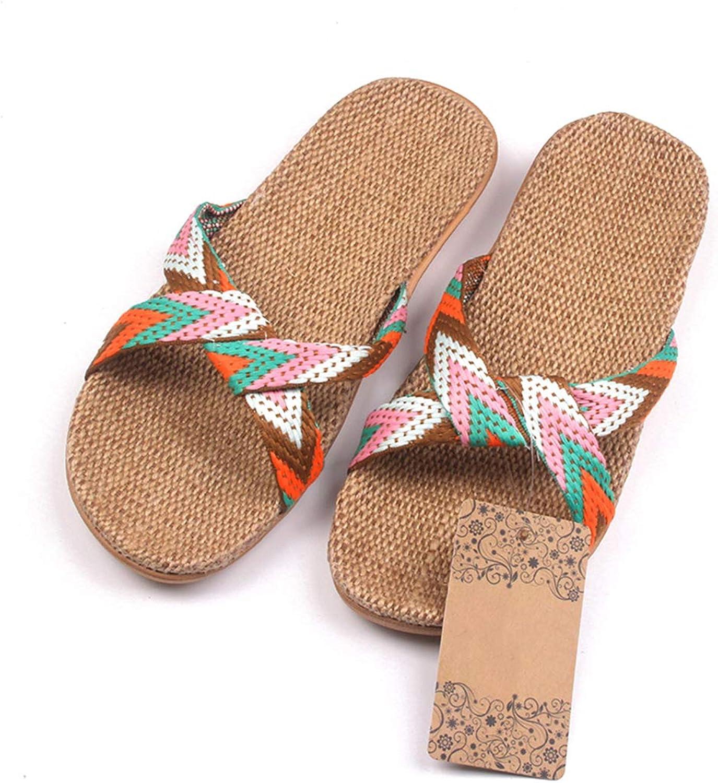 Nafanio Flax Home Slippers Indoor Floor shoes Cross Belt Silent Sweat Footwear Arch Support Summer Women Sandals