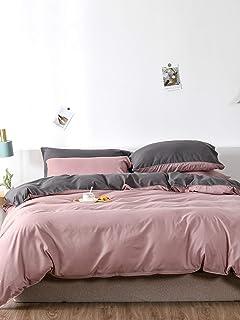 Chanyuan Parure de lit réversible en microfibre - 200 x 220 cm - Rose et gris - Housse de couette pour lit double - 200 x ...