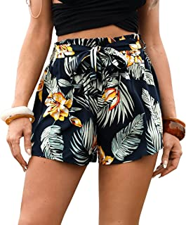 SweatyRocks Women's Casual Floral Belted Shorts Tropical Elastic Waist Shorts Navy Blue XS