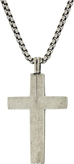 "Splitting Cross Necklace with 18"" Box Chain"