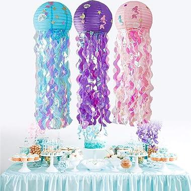 FiveFive Lot de 3 lanternes en papier en forme de méduse - Décoration de fête à suspendre sous la mer