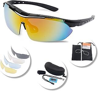 056c49099a Gafas Ciclismo Polarizadas con 5 Lentes Intercambiables Gafas de Sol  Deportivas Antivaho Antireflejo Anti Viento y