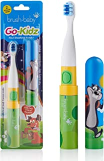 Brush Baby Go-Kidz Toddler and Kid Electric Travel Toothbrush for Ages 3+ Years - Stickers, 2-Speed Vibration, and Smart Timer Provide a Fun Brushing Experience - (1) 3+ yrs Brush Head Include - Mikey