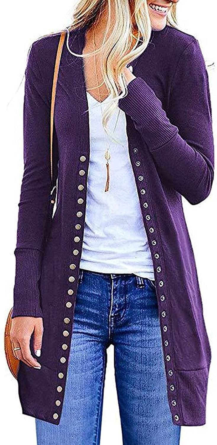 Tantisy Women Cardigan Classic Long Sleeve Sweater Open Front Button Plus Loose Cute LightWeight Jacket Casual Soft Tops