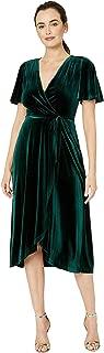 Velvet Flutter Sleeve Wrap Dress Midi Hunter 4