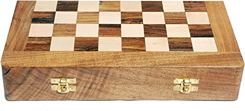 SkyWalker Foldable Wooden Chess Board Without Chess Pieces (14 Inch)