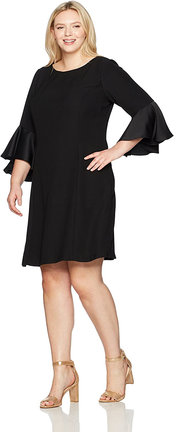 Adrianna Papell Womens Plus CrepeBack Satin with Ruffle Sleeve Dress Dress