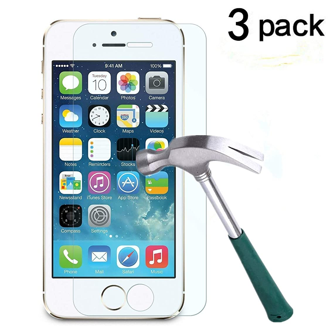 TANTEK LLL63 iPhone 5/5C/5S/SE Screen Protector, Anti-Bubble, HD Ultra Clear, Premium Tempered Glass - 3 Piece