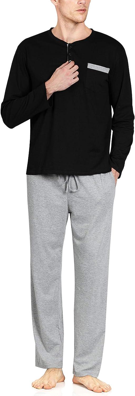 YIMANIE Men's Pajamas Set Soft Cotton Knit Long Sleeves and Pajamas Pants Classic Sleepwear Lounge Set