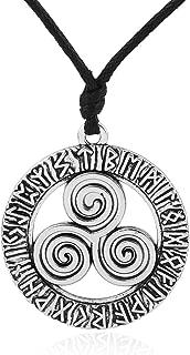 Vintage Triple Celtic Spiral Irish Knot Pattern 24 Ancient Nordic Amulet Runes Necklace (Antique Silver)