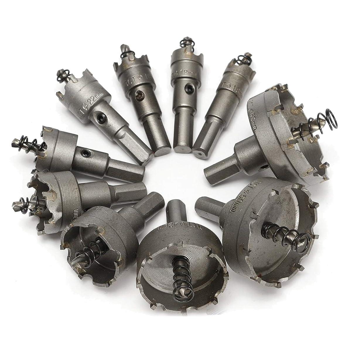 反動娘硬化するMOLATE 10PCS 超硬 ホールソー セット ドリルビット 16mm、18mm、19mm、22mm、25mm、30mm、35mm、42mm、50mm、53mm 切削 工具 DIY 穿孔 掘削 電動ドリル用