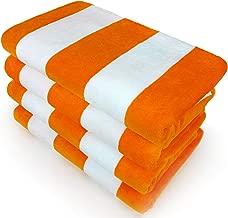 Kaufman - Velour Cabana Towels 4-Pack - 30in x 60in (Orange)