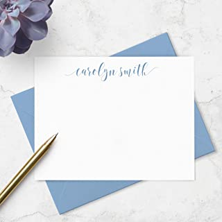 Personalized Flat Note Card and Envelope Set - Custom Boxed Stationery Set - Choose Ink and Envelope Colors