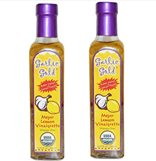 Garlic Gold, Certified Organic Lemon Meyer with Extra Virgin Olive Oil Vinaigrette Salad Dressing & Marinade Soy Free Keto Paleo friendly Vinegar Free (Pack of 2)