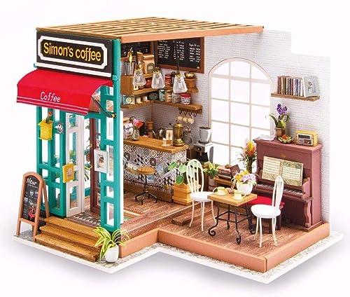 envio rapido a ti DIY Doll House Kit-Coffee Kit-Coffee Kit-Coffee House, Modelo de Conjunto de Rompecabezas de la casa con Luces LED, Herramientas e Instrucciones, Ornamentos de Juguetes creativos  Entrega directa y rápida de fábrica