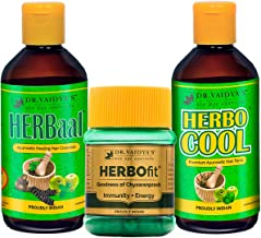 Dr. Vaidya's New Age Ayurveda | Ayurvedic Anti Hair Fall Pack | Herbocool Oil (200 ml X 1), Herbaal Shampoo (200 ml X 1), HERBOfit (30 Capsules X 1)