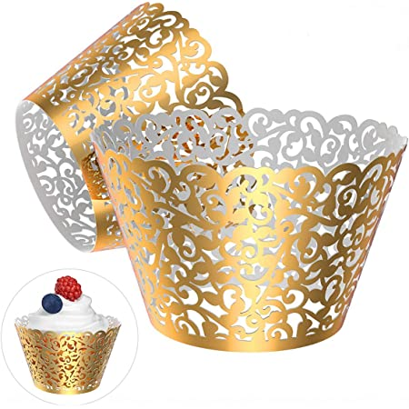 12 pcs Beautiful Metallic Gold Flower Lace Wedding Filigree Cupcake Liners Liner Baking Cup Cupcake Wrapper Wrappers