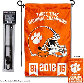 College Flags and Banners Co. Clemson Tigers 3 Time Football National Champions Garden Flag with Stand Holder