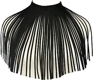 Mrotrida Tassel Bib Necklace Fashion Velvet Long Fringe African Chunky Choker Jewelry for Women Teen Girls Party Beach Black