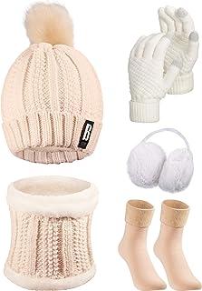 5 قطعه مجموعه گردش اسکی زمستانی زنانه ، دستکش روسری کلاه بافتنی جوراب ساق بلند (بژ ، خاکی)