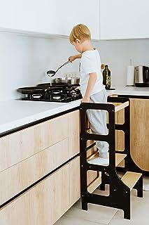 Duck WoodWorks Tour de cuisine pour enfants – Tabouret d'apprentissage moderne pour les tout-petits et les enfants pour un...