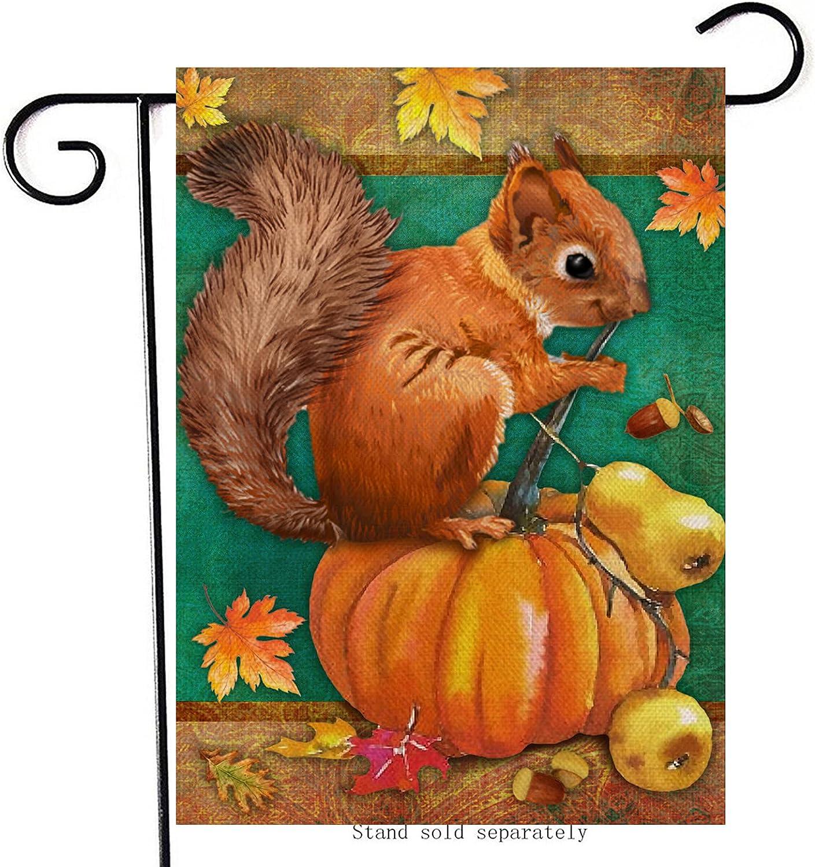 Artofy Fall Squirrel Home Decorative Garden Flag, Autumn Pumpkin Pear House Yard Lawn Outside Maple Leaves Decor, Harvest Decorations Farmhouse Seasonal Outdoor Small Burlap Flag Double Sided 12 x 18