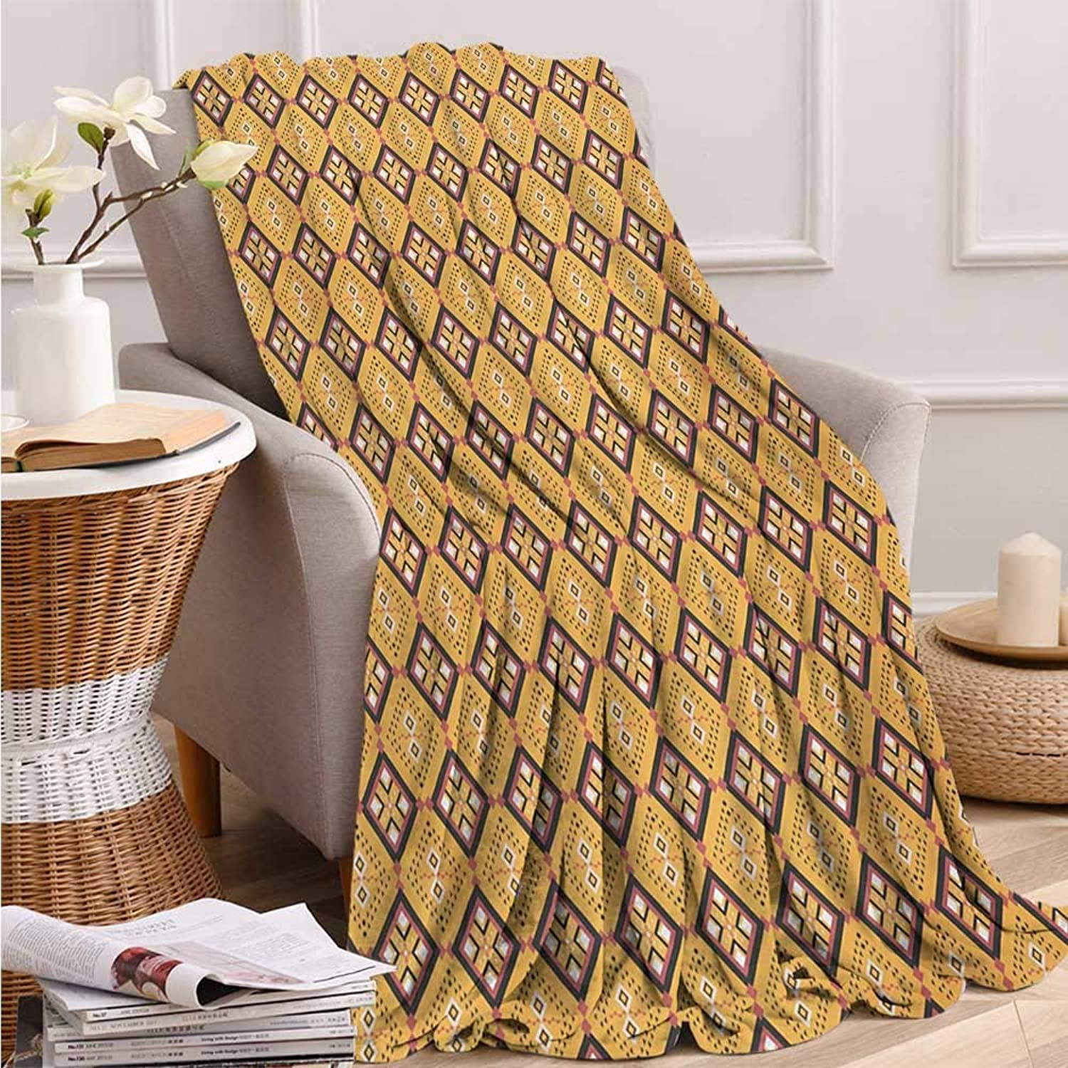 Fenlin African, Throw Blanket for Girls, Tribal Tile Pattern with Diamond Line Motifs Ancient Cultures, Throw Blanket, 60x50 Inch Mustard Dried pink Charcoal Grey